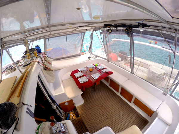 The cockpit of our catamaran