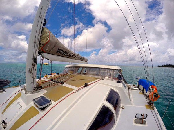 deck of the catamaran